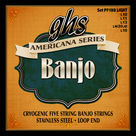 GHS PF190 Banjo Strings, 5-String, Light, Cryogenically Treated Stainless Steel, 10-20