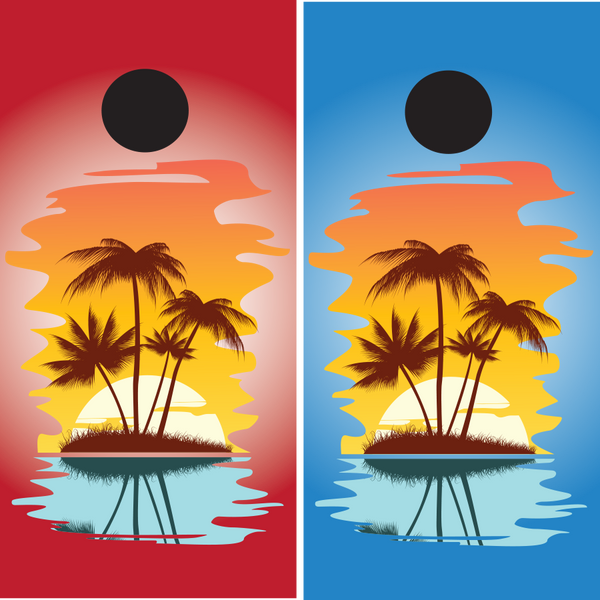 Simple Island Beach Theme Cornhole Wraps - Wrapyourboards.com