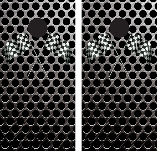 Brushed Metal Grill Background with Checkered Flag Logos Cornhole Board Wraps - Wrapyourboards.com