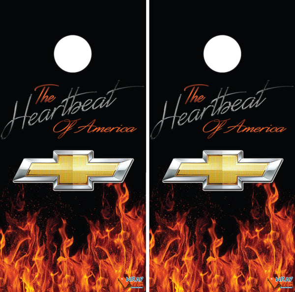 The Heartbeat of America Cornhole Board Wraps - Chevy- Chevy Bowtie- Wrapyourboards.com
