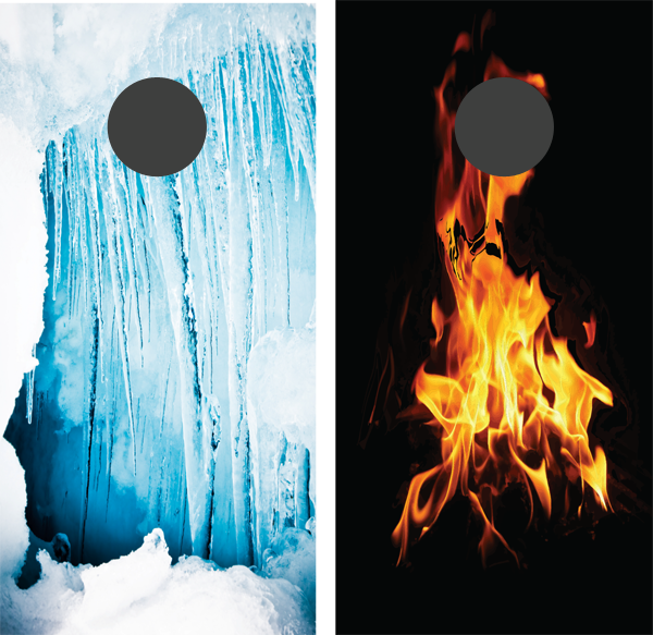 Fire and Ice Cornhole Board Wrap - WrapYourBoards.com