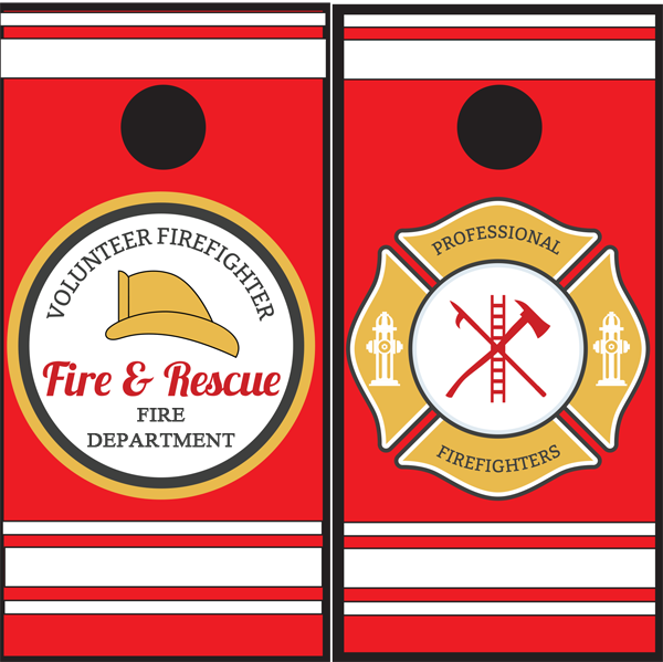 Volunteer Firefighter - Fire Department - Firefighters Cornhole Boards - Wrapyourboards.com