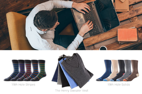 Socks and sweater vests merino wool corporate office working apparel