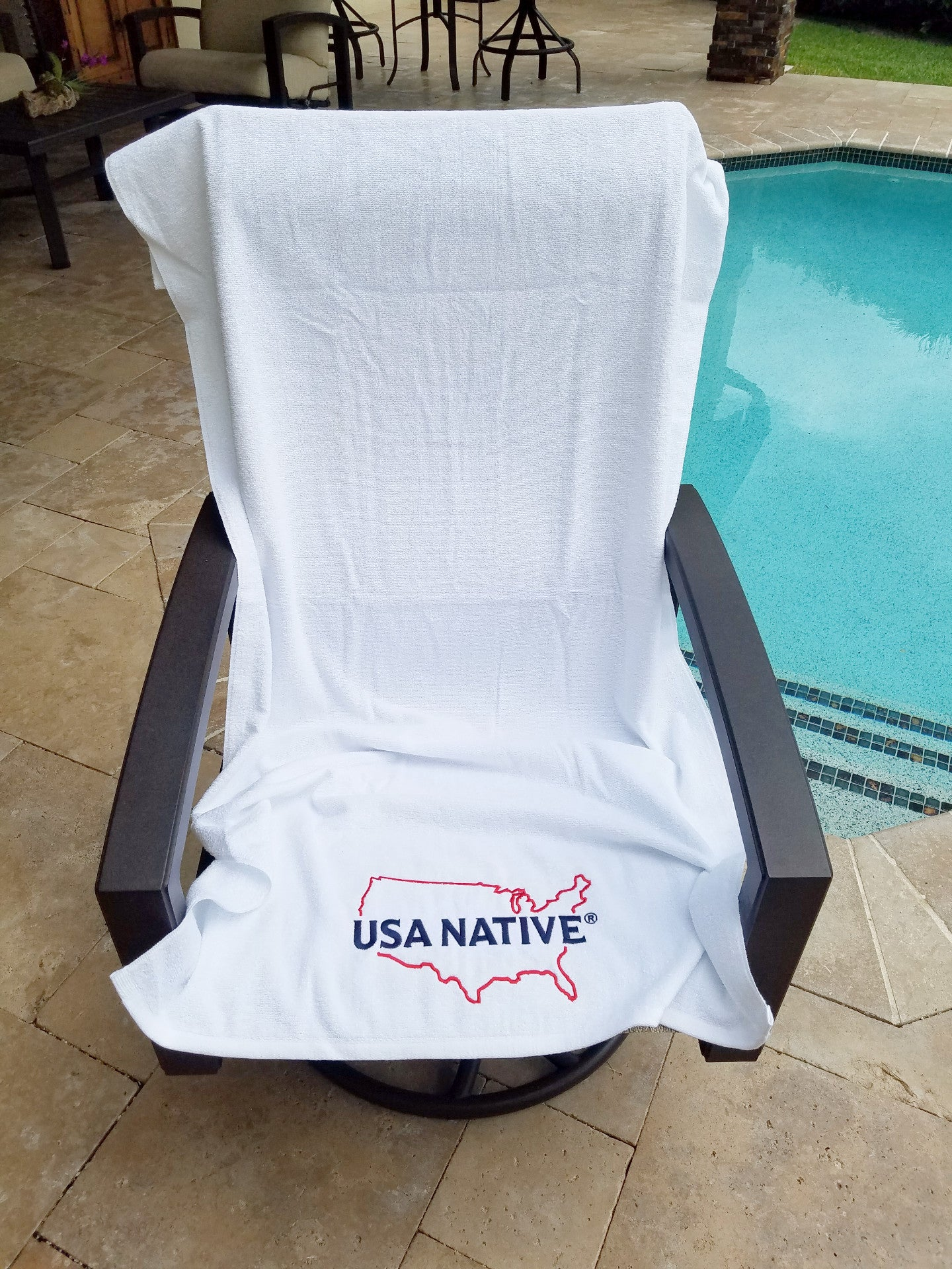 USA Native White Beach Towel