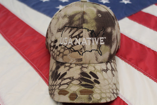 USA Native Cap with US Outline in Black thread - Camo