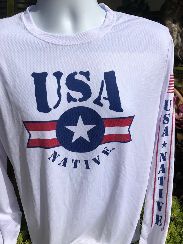 USA Native Long Sleeve interlock fabric with Bar logo - White