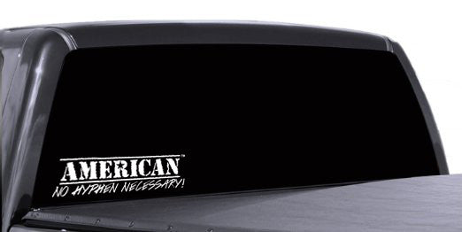 "American No Hyphen Necessary! 12"" Decal Military Style"