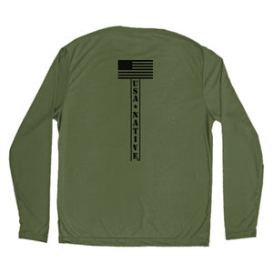USA Native Long Sleeve with Star art - OD Green