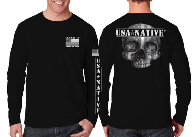 USA Native Long Sleeve interlock fabric with Skull art - Black