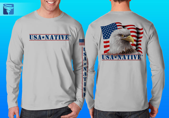 USA Native Long Sleeve with Eagle art - Silver