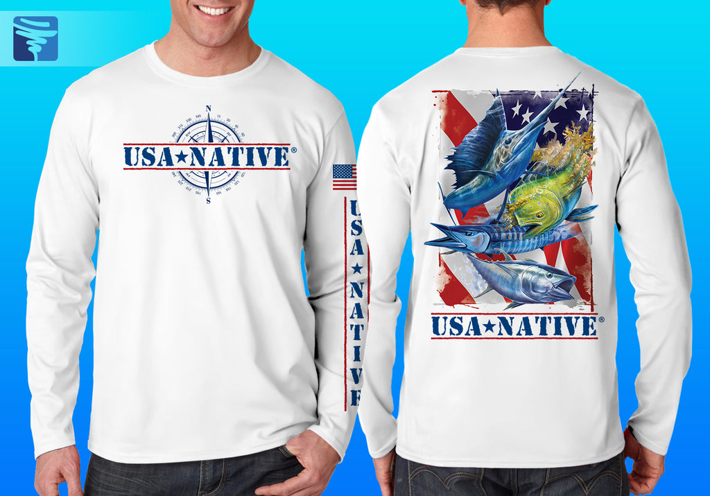USA Native Long Sleeve interlock fabric with Fish art - White