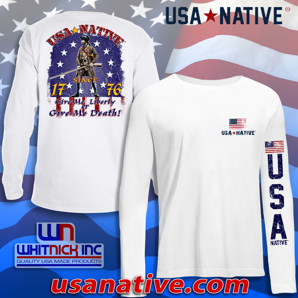 USA Native Long Sleeve interlock fabric with Since 1776 soldier art - White