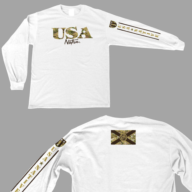 USA Native Long Sleeve interlock fabric with USA camo FL flag art - White