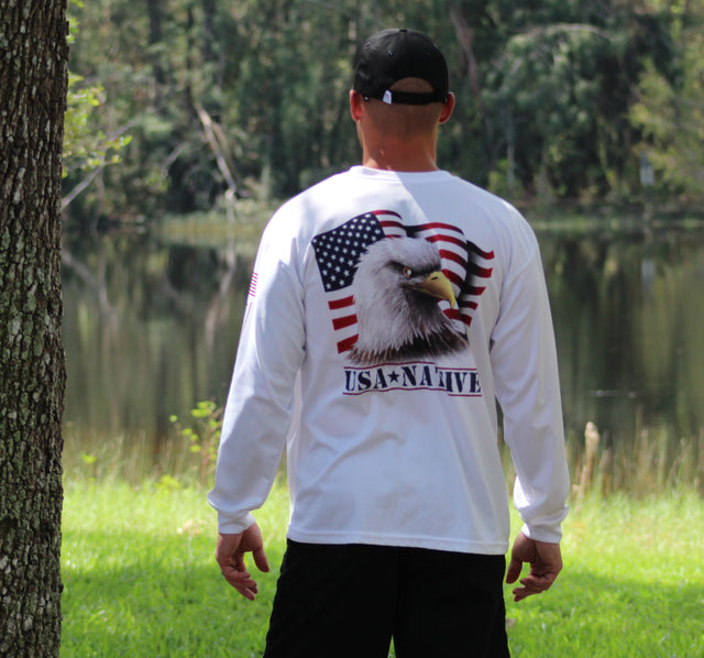 USA Native Long Sleeve interlock fabric with Eagle art - White
