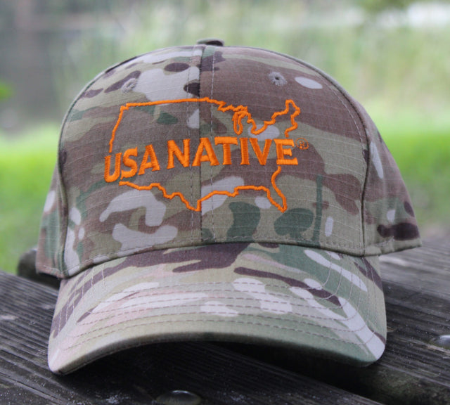 USA Native Cap with US Outline in Orange thread  - Camo