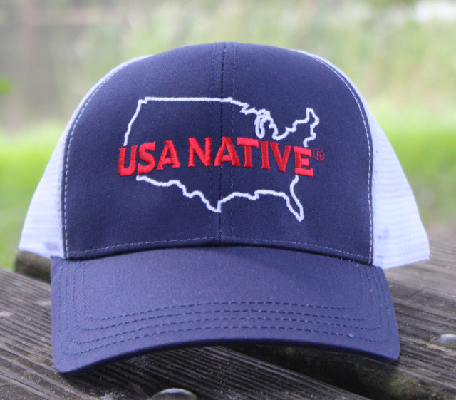 USA Native with US Outline Cap - Navy and White Mesh