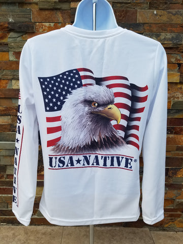 USA Native Women's cut v-neck Long Sleeve with Eagle art - White