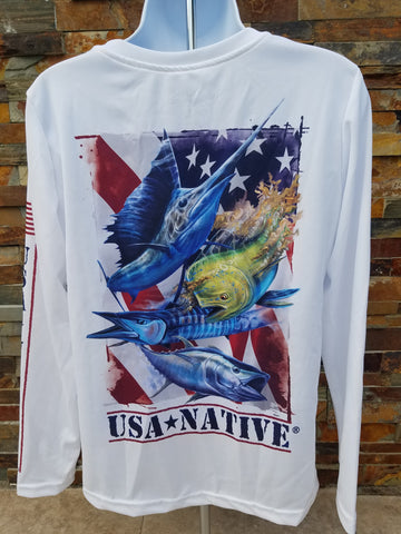 USA Native Women's cut v-neck Long Sleeve with Fish art - White