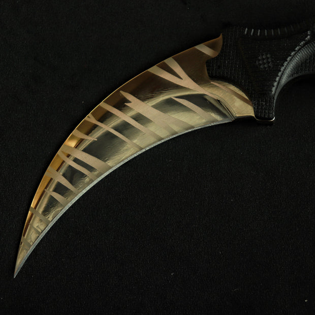 24K Gold Tiger Tooth Karambit 2.0 Elemental Knives Karambit 2.0 Skins