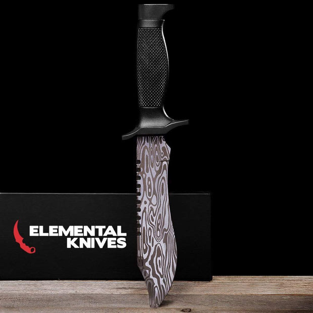 Damascus Steel Bowie Knife Elemental Knives Bowie Knife Skins