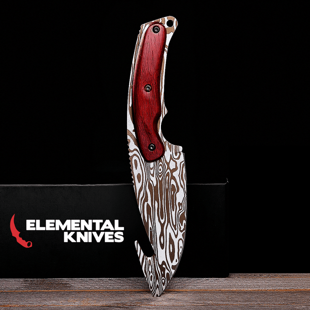 Damascus Steel Gut Knife Elemental Knives Gut Knife Skins