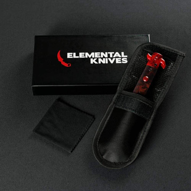 Ruby Stiletto Flip Knife Elemental Knives Stiletto Knife Skins