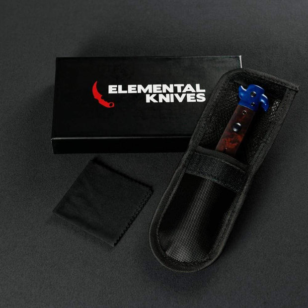 Sapphire Stiletto Flip Knife Elemental Knives Stiletto Knife Skins