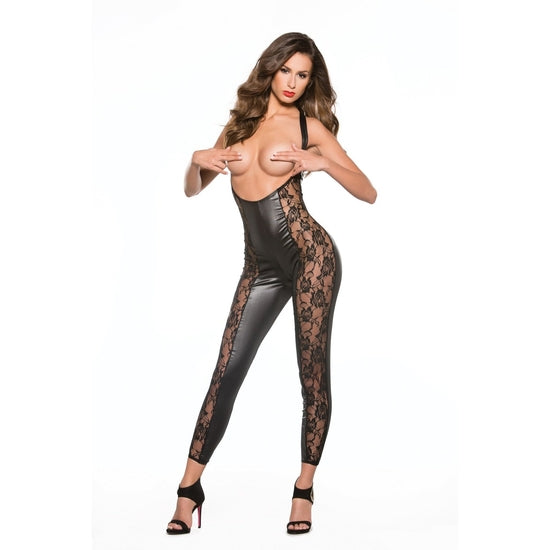 Allure Lingerie ,Kitten Lace & Wet Look Catsuit One Size