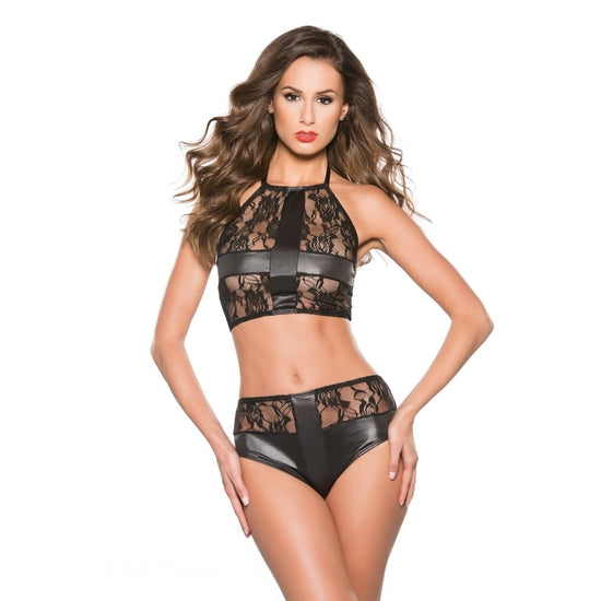 Allure Lingerie ,Kitten Lace & Wet Look 2Pc One Size One Size-X