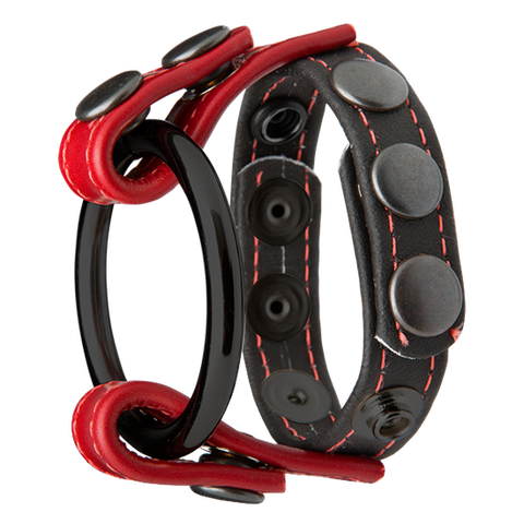 Kink Leather Master Ring Black Red Cage