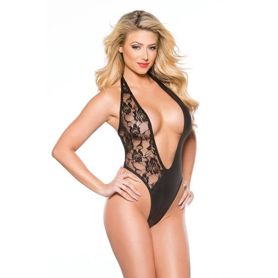 Allure Lingerie ,Kitten Lace & Wet Look Teddy One Size
