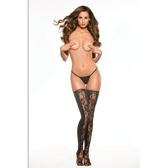 Allure Lingerie ,Kitten Lace & Wet Look Tights One Size