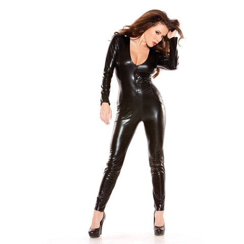 Allure Lingerie Sexy Kitten Catsuit Black, One Size