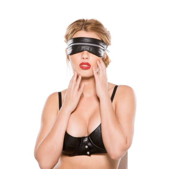 Allure Lingerie Black Faux Leather Zip Mask, One Size