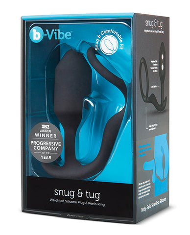 b-Vibe Snug & Tug Weighted Silicone & Penis Ring - 128 g Black