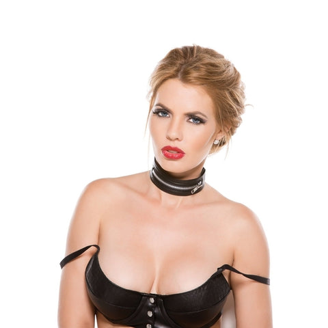 Allure Lingerie Black Faux Leather Zip Collar, One Size