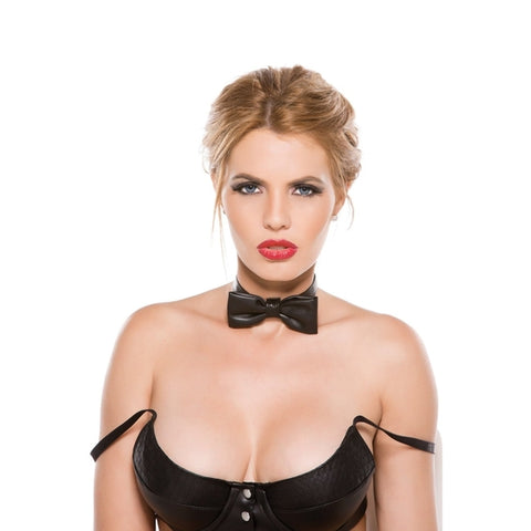 Allure Lingerie Black Faux Leather Bow Tie Collar, One Size