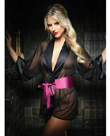 Premiere Nancy Kimono Robe and Panty Black-Berry