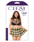 As If Schoolgirl Set; Tie Collar, Crop Top, Skirt And Panty