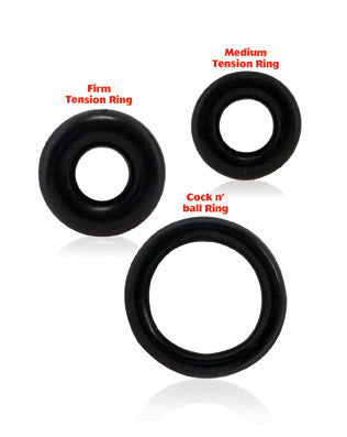 Ringo 3-Pack Black Silicone cock rings