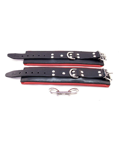 Padded Wrist Cuffs Black & Red from Rouge Garments