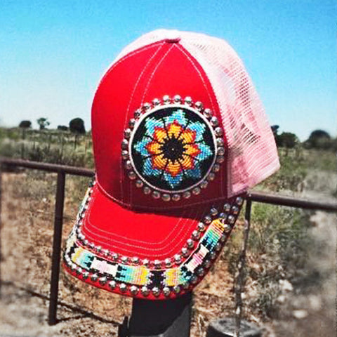 Red Flower Beaded Cap