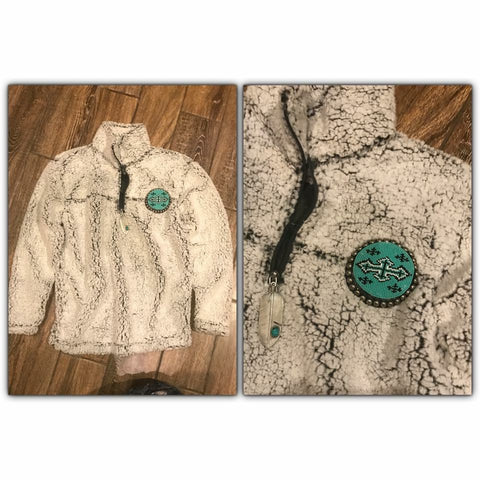 Beaded 1/4 zip sherpa