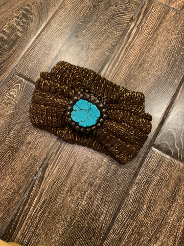 Chocolate/ gold headband with turquoise slab
