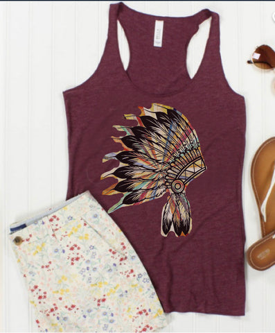 Tank top maroon headdress