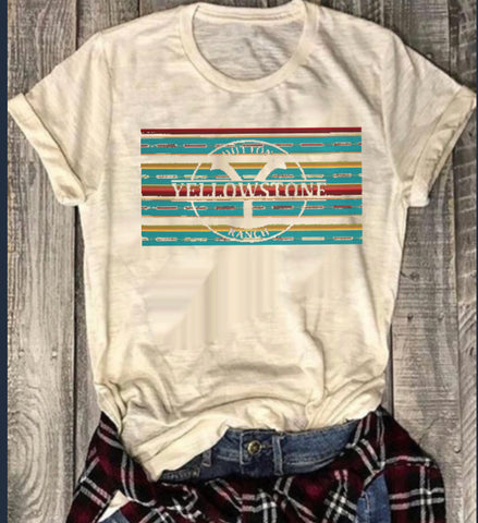 Cream tee serape Yellowstone