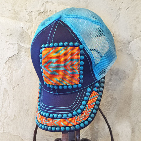 Orange & Turquoise Arrow Beaded Cap