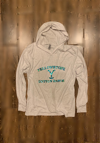 Dutton Ranch hoodie in white marble