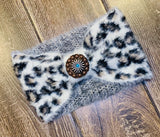 Super soft 3D leopard print ear warmer 2 colors available