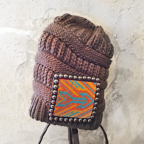Turquoise & Orange Beaded Arrow Chocolate Beanie